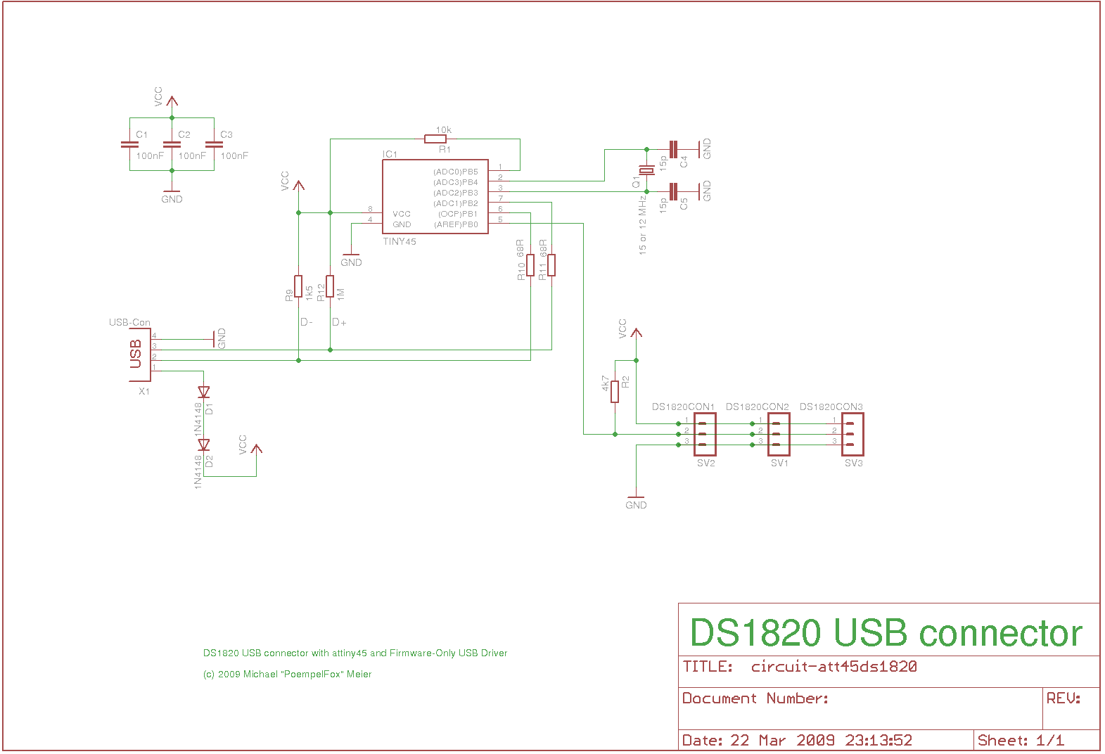 DS1820 to USB connector